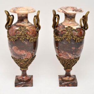 Pair of Antique Solid Marble & Gilt Bronze Urns