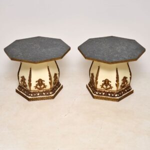 Pair of Antique French Faux Marble Side Tables