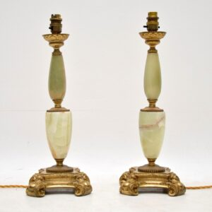 Pair of Antique French Gilt Metal & Onyx Table Lamps