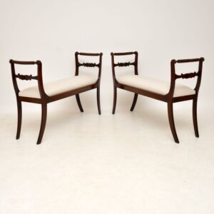 Pair of Antique Regency Mahogany Window Seats / Benches