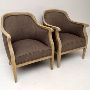 Pair of Antique Swedish Bleached Oak Upholstered Armchairs