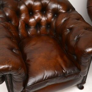 Large Pair of Antique Swedish Leather Armchairs