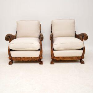 Pair of Antique Swedish Satin Birch Bergere Armchairs