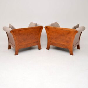 Pair of Antique Swedish Burr Walnut Armchairs