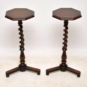 Pair of Antique Mahogany Barley Twist Side Tables