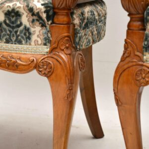 Pair of Antique Walnut Bergere Armchairs