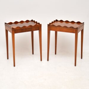 Pair of Antique Sheraton Style Yew Wood Side Tables