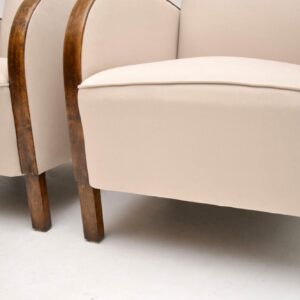 Pair of Swedish Art Deco Satin Birch Armchairs