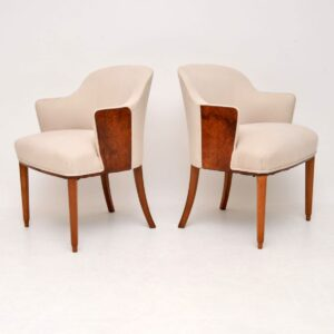 Pair of Art Deco Burr Walnut Armchairs