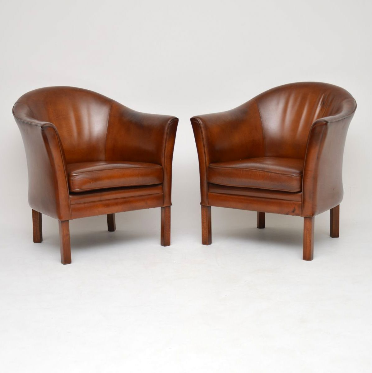1960's Pair of Danish Vintage Leather Armchairs by Mogens Hansen