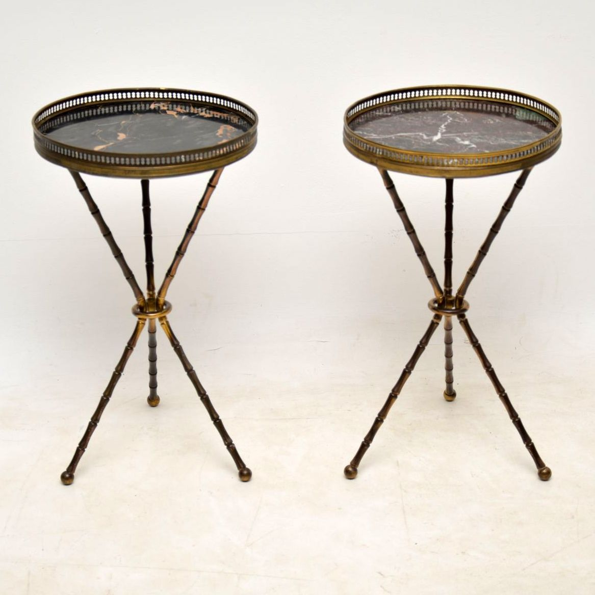 Pair of Antique Brass & Marble Side Tables
