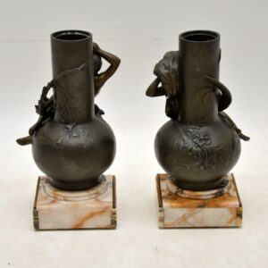 Pair of Antique French Bronze Urns by L. Moreau