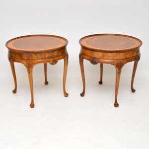 Pair of Antique Walnut & Elm Side Tables