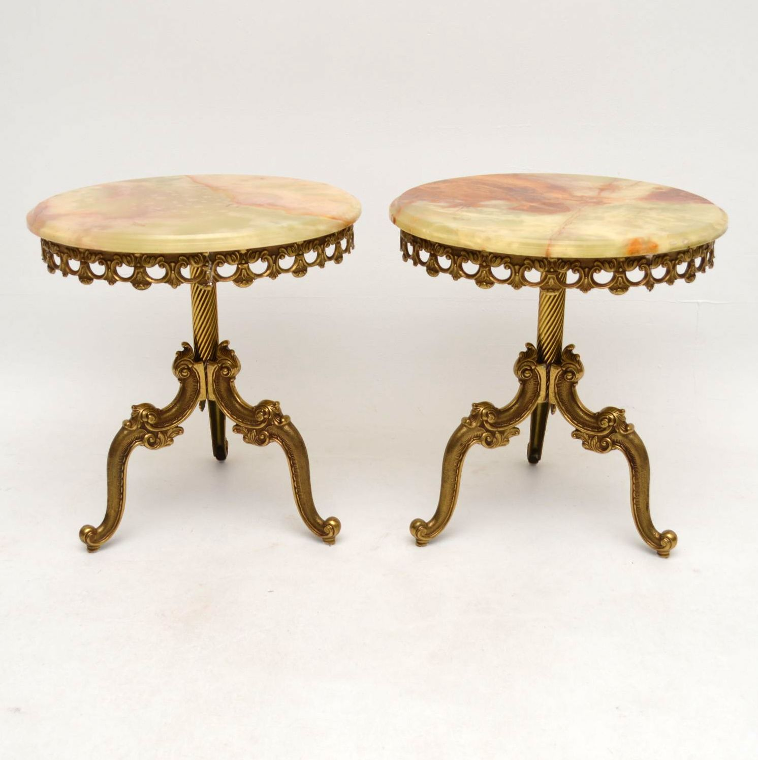 Pair of Antique French Brass & Onyx Tables