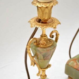 Pair of Antique French Gilt Metal & Onyx Lamps