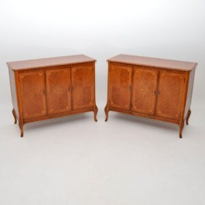 Pair of Antique French Style Inlaid King Wood Cabinets