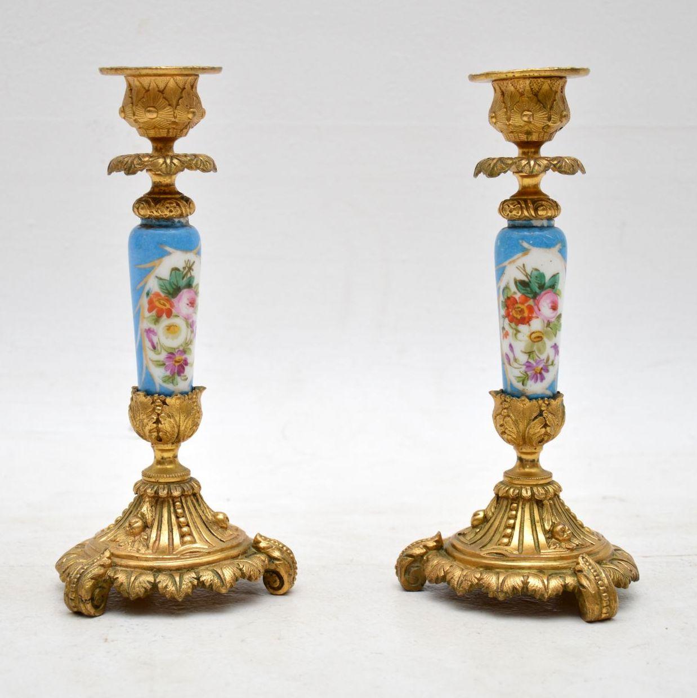 Pair of Antique French Sevres Porcelain & Ormolu Candlesticks