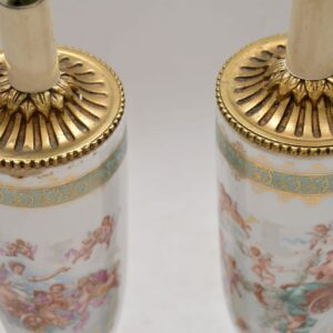 Pair of Antique French Porcelain Table Lamps