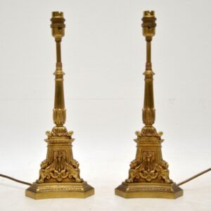 Pair of Antique French Gilt Metal Lamps