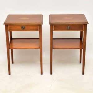 Pair of Antique Georgian Style Inlaid Mahogany Side Tables
