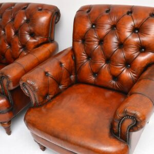 Pair of Antique Victorian Style Deep Buttoned Leather Armchairs