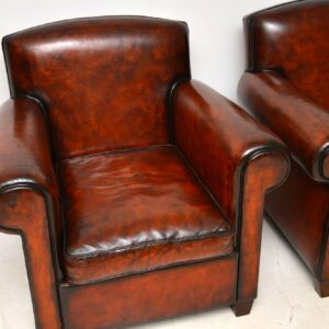 Pair of Antique Leather Club Armchairs