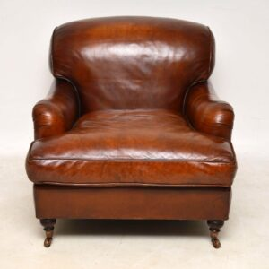 Large Pair of Leather Antique 'Howard' Style Armchairs