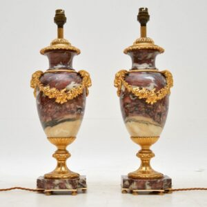 Pair of Antique French Marble & Gilt Bronze Table Lamps