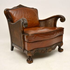 Pair of Antique Satin Birch & Leather Bergere Armchairs