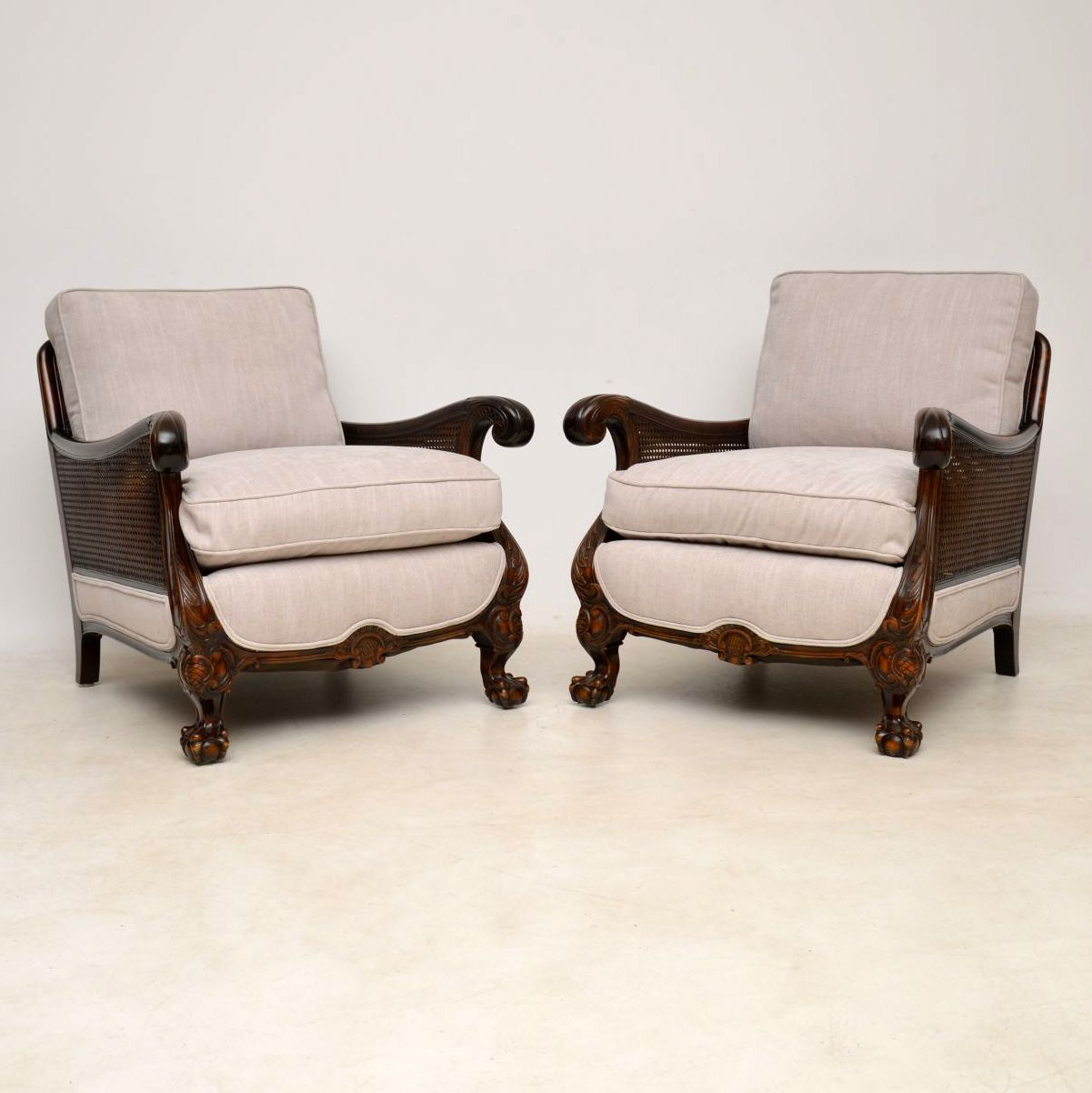 Pair of Antique Swedish Satinbirch Bergere Armchairs