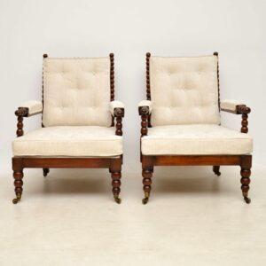 Pair of Antique William IV Mahogany Bobbin Armchairs