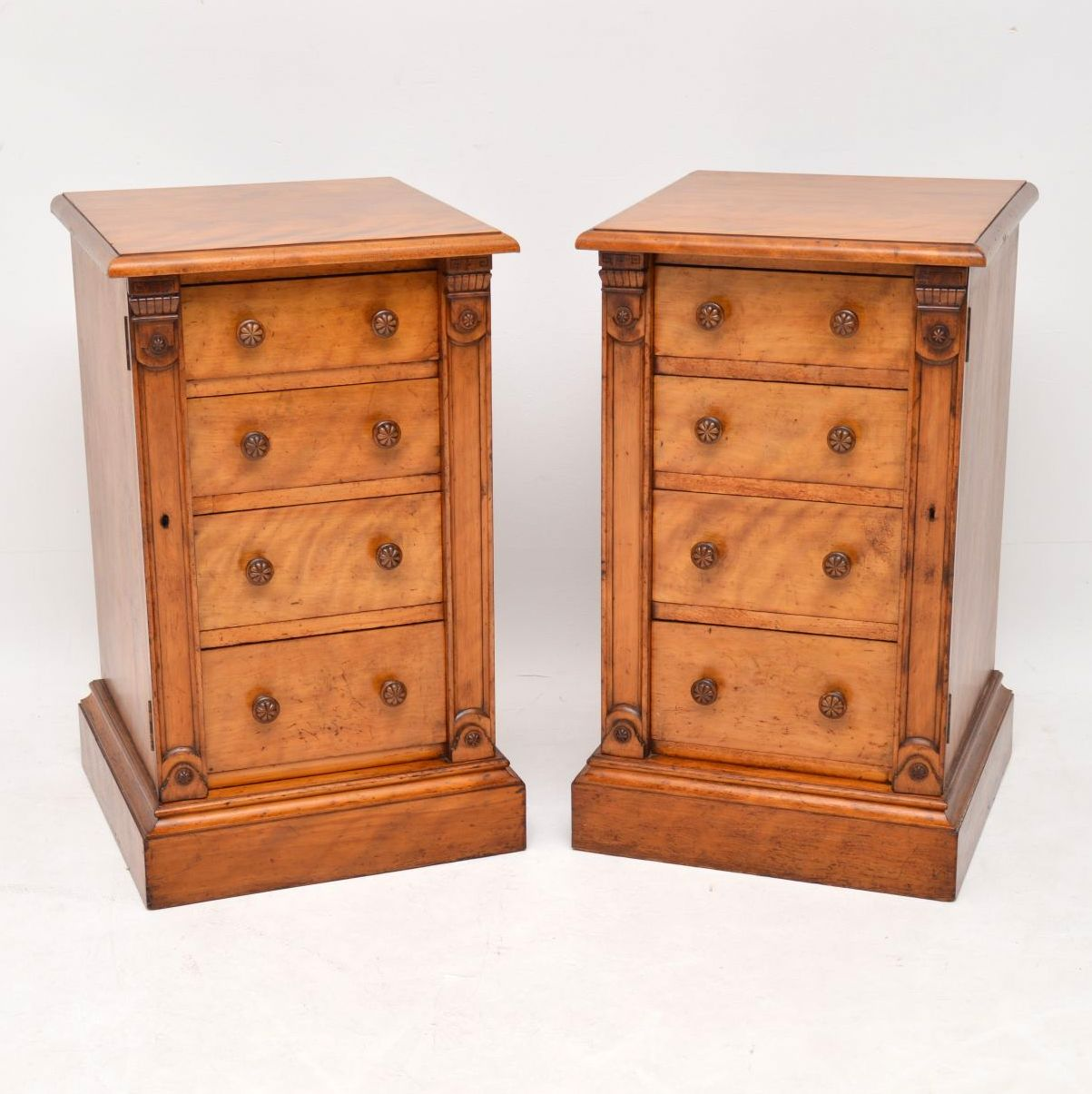 Pair of Antique Victorian Satinwood Wellington Bedside Chests
