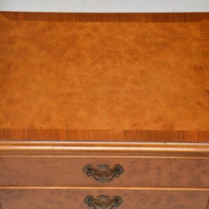 Pair of Antique Queen Anne Style Burr Walnut Bedside Chests