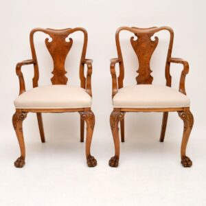 Pair of Antique Walnut Queen Anne Style Carver Armchairs