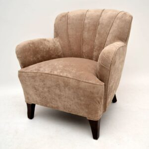 Pair of Art Deco Swedish Scallop Back Armchairs