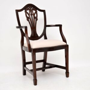 Set of 8 Antique Sheraton Style Mahogany Shield Back Dining Chairs