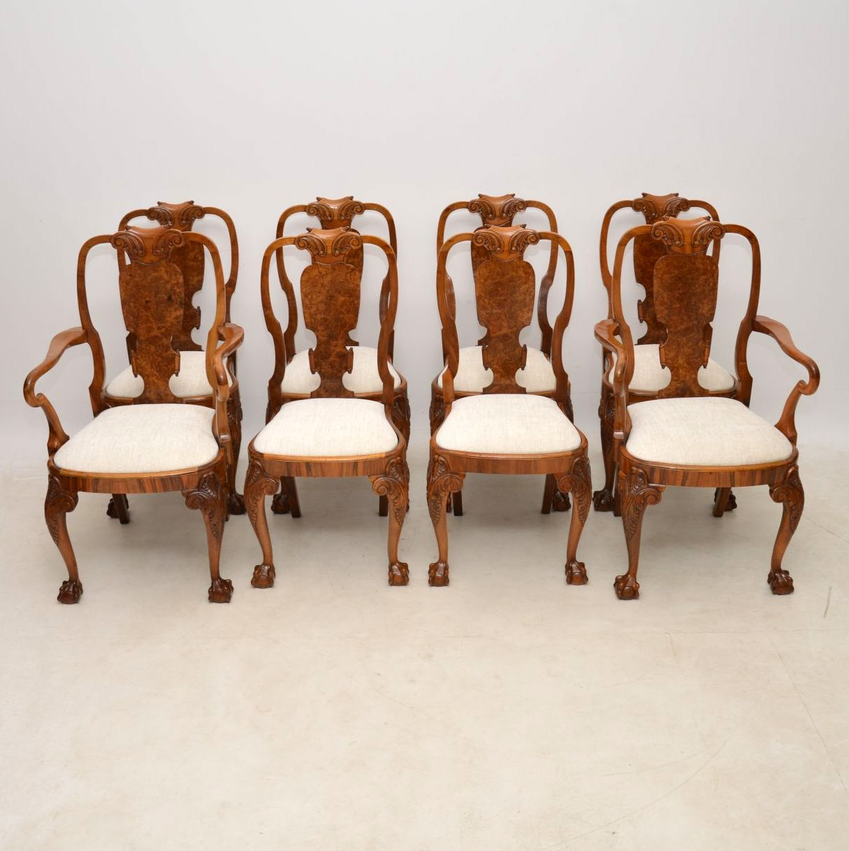 Set of 8 Antique Walnut Queen Anne Dining Chairs