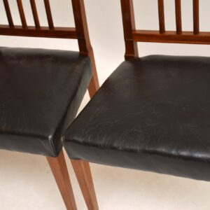 Set of 4 Antique Mahogany & Leather Dining Chairs