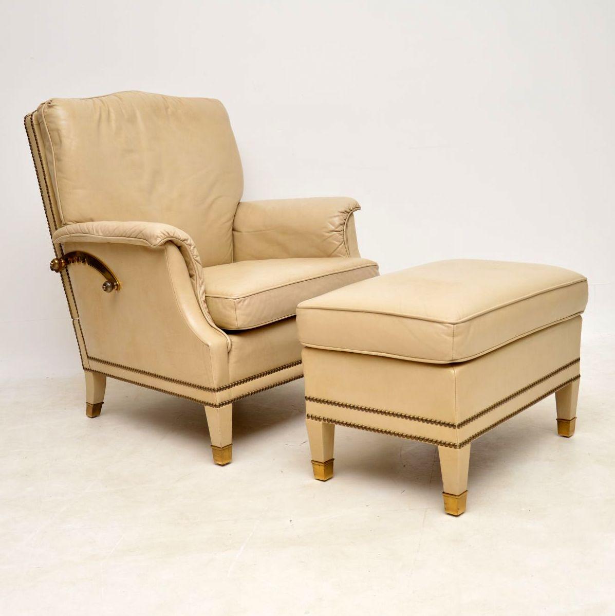 Antique Swedish Leather & Brass Reclining Armchair & Stool