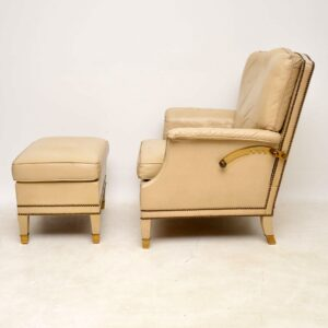 Antique Swedish Leather & Brass Reclining Armchair & Stool