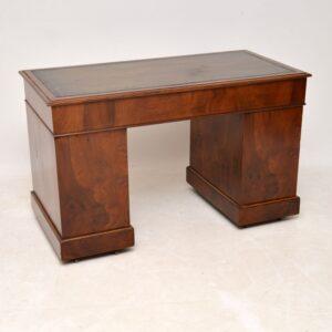 Antique Victorian Burr Walnut Leather Top Desk