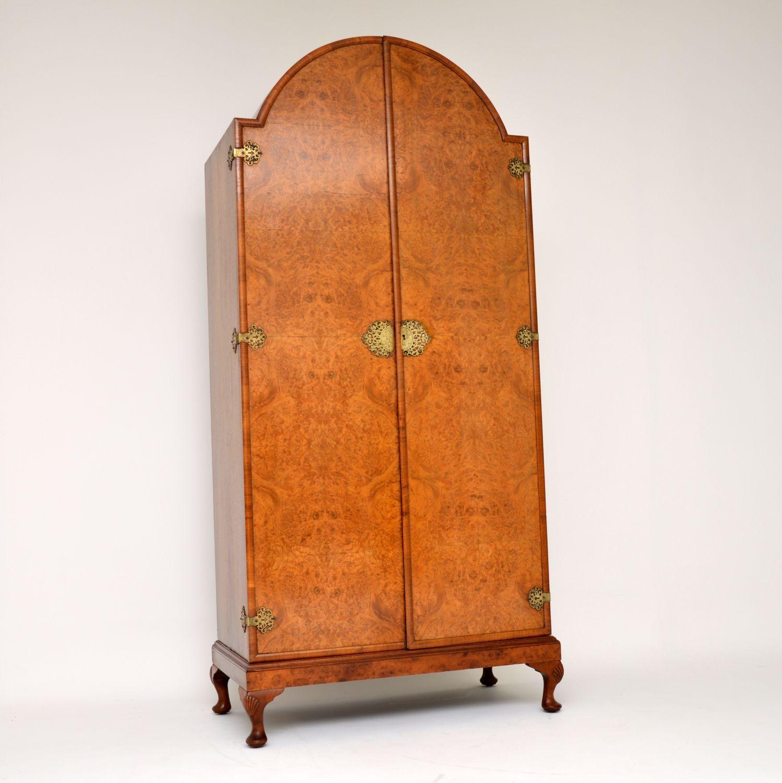 antique burr walnut queen anne wardrobe