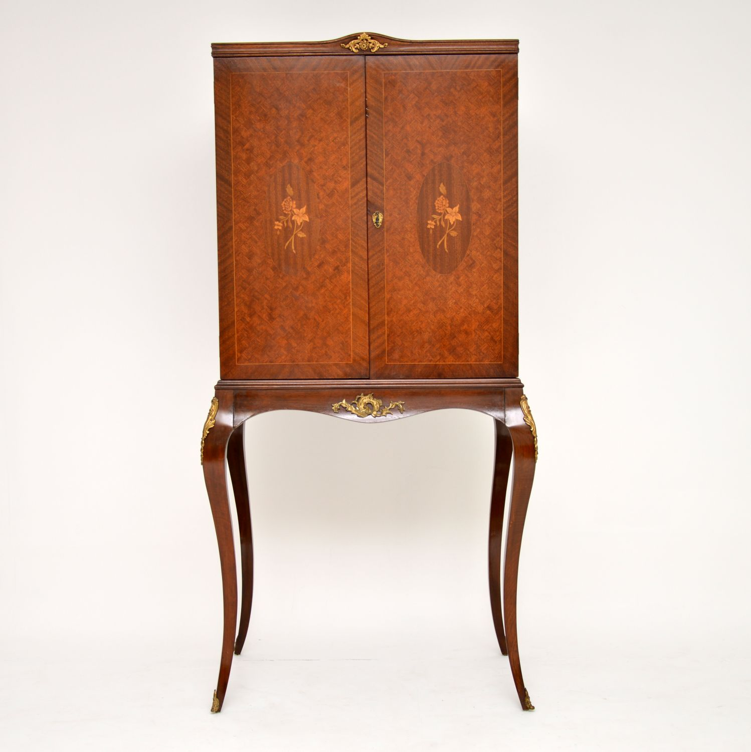 antique french inlaid marquetry cocktail drinks cabinet