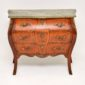 antique french inlaid marble top bombe commode chest