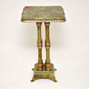 Antique Champlevé & Cloisonné Enamel Mounted Git Bronze Onyx Table Stand