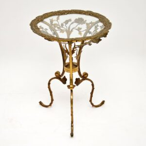 antique vintage brass gilt metal glass side table