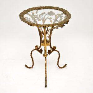 antique vintage brass gilt metal glass side table