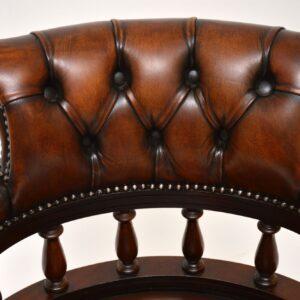 antique mahogany leather captains desk chair armchair