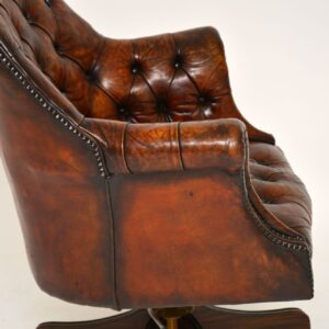 antique leather mahogany swivel desk chair