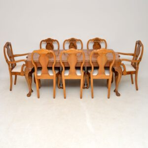 antique queen anne burr walnut dining table chairs